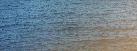 Waves of blue quiet ocean coast landscape. Background sea scape. Panorama horizon perspective view nature hiliday. Travel summer mockup concept, backdrop water seascape, mock up