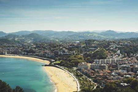 Observation deck in trip holiday in San Sebastian Northern Spain basque country, top view on seascape on mountain and island in ocean, background panoramic view of the city landscape. Nature travel concept