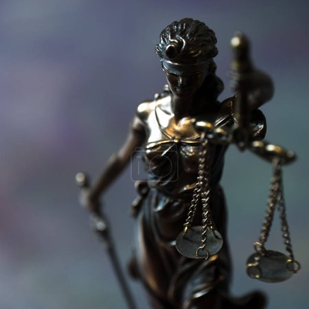 Photo pour Still Life of Law and Justice - Themis on table background. - image libre de droit
