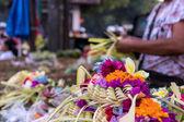 """Постер, картина, фотообои """"Подношения богам в Бали с цветами. Экзотические тропические острова Бали, Индонезия."""""""