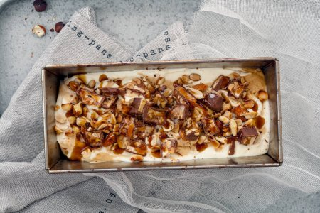 ice cream with caramel,  fried peanuts