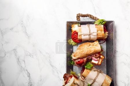 Bahn-mi styled baguette sandwich