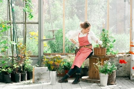 Young cute lady gardener