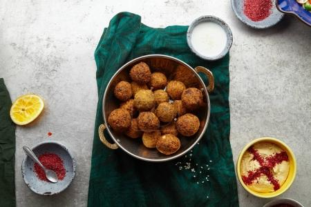 traditional jewish and middle eastern dish falafel, Israeli cuisine concept