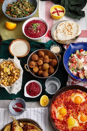 collection of traditional jewish and middle eastern dishes, Israeli cuisine concept