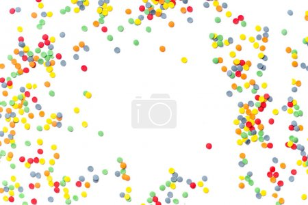 colorful sweet confetti topping isolated on white background, close-up