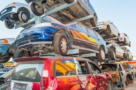 old cars in a car breaker junk yard