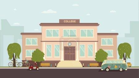 Illustration for University or college building. Campus design, graduation university, school vector illustration - Royalty Free Image