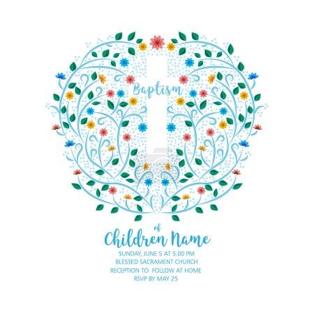 Photo pour Baptême, Invitation au baptême - Modèle d'invitation avec croix et fleurs, couronne florale - image libre de droit