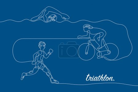Triathlon. Linear line graphic.