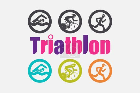 Triathlon icons in colorful and Black and White version.