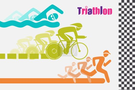 Triathletes are swimming running and cycling icon in colorful racing to the finish line.