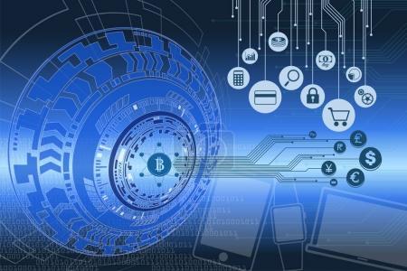 Fintech and digital money graphic.