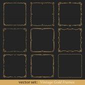 Vector set of vintage gold frames on black background