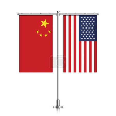 Peoples Republic of China and United States vector...