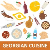 Georgian cuisine vector illustration