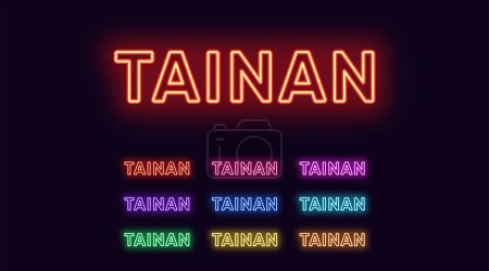 Illustration for Neon Tainan name, City in Taiwan. Neon text of Tainan city. Vector set of glowing Headlines with transparent backlight. Red pink purple, violet blue azure, green yellow orange colors - Royalty Free Image