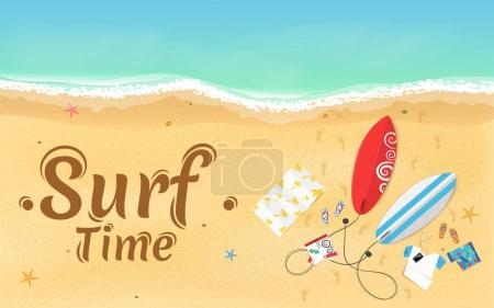 Time for surfing. On the beach are things, a surfboard and accessories. Summer weekend. Top view of the beach. Exotic zone of rest. Vector illustration