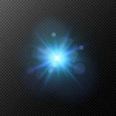 A bright blue flash isolated on a transparent background Flash highlight for your project Footage for photos and video Vector illustration