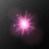 A bright purple flash isolated on a transparent background Flash highlight for your project Footage for photos and video Vector illustration