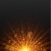 A bright golden glow Abstract christmas lights Gold backlight Orange rays of light The big star