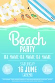 Poster for the Beach Party Set of summer things Top view Text on sea water Sunglasses surfboard Invitation card for the party The name of the DJ Vector illustration