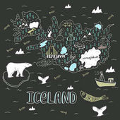 Iceland hand drawn cartoon map Vector illustration with travel landmarks animals and natural phenomena