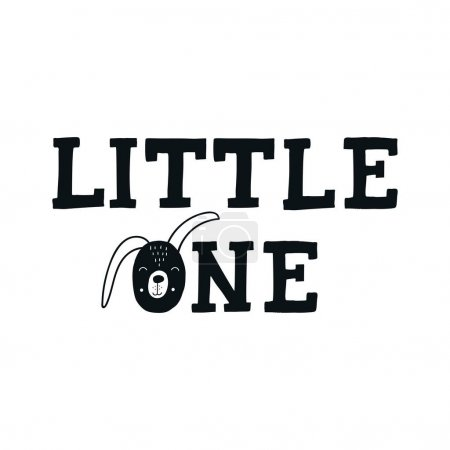 Little one - Cute hand drawn nursery poster with lettering in scandinavian style.
