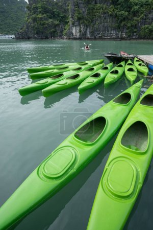 Kayaks for rent in Halong Bay, Vietnam