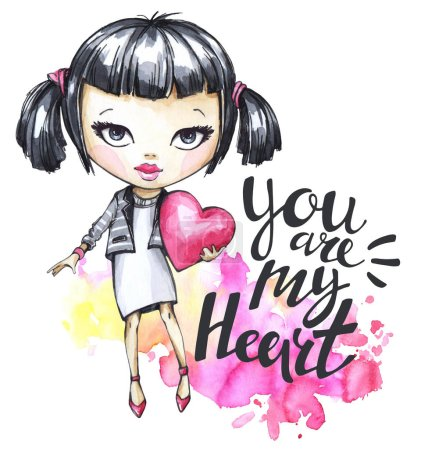 Photo for Lovely hand drawn illustration. Watercolor Valentines Day card with romantic girl. Calligraphy words You Are My Heart. Perfect for invitation, t-shirt, print, phone case design. - Royalty Free Image