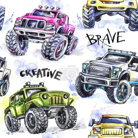 seamless pattern with Cartoon Monster Trucks.