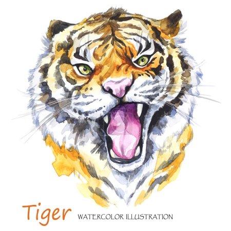 Watercolor roaring tiger