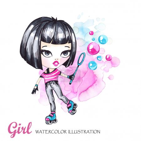 Watercolor card roller girl with bubbles.