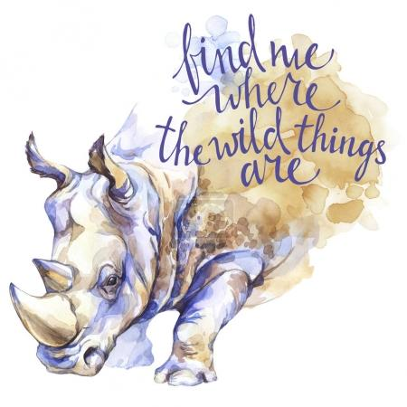 Watercolor rhinoceros with  inspiration phrase.