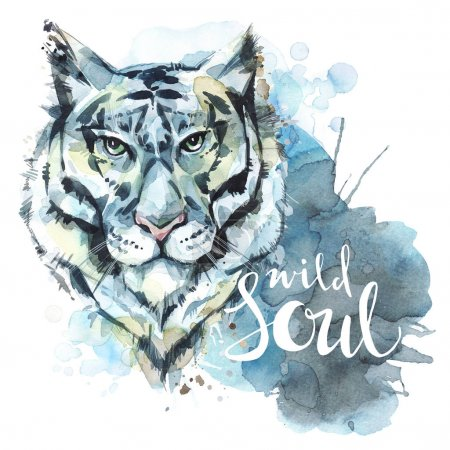 Watercolor tiger with  words Wild Soul.