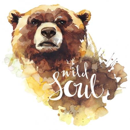 Watercolor bear with  words Wild Soul