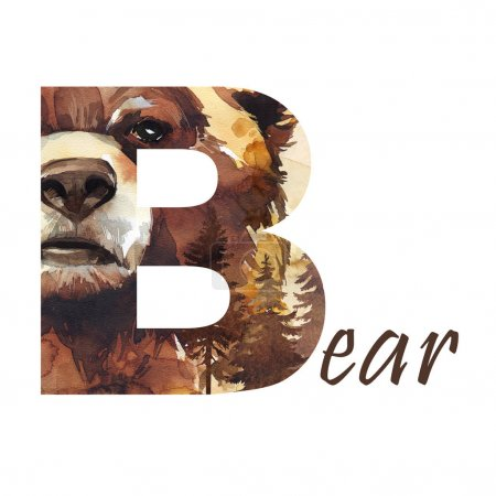 Capital letter B of watercolor bear