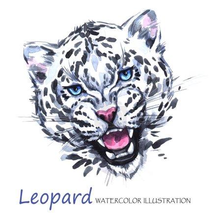 Photo pour Aquarelle leopard rugissant sur fond blanc. Afrique animal. Illustration de la faune d'art. Peut être imprimé sur des T-shirts, sacs, affiches, invitations, cartes, étuis pour téléphone, oreillers. Place pour votre texte. - image libre de droit