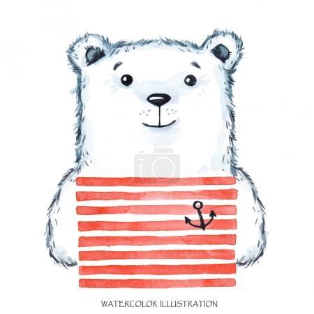 Watercolor modern Teddy in bright wear.