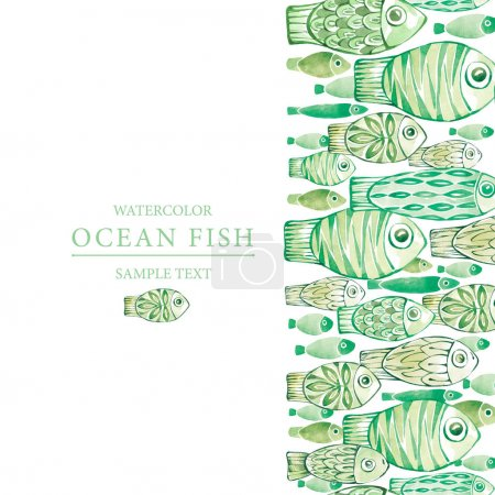 Seamless vertical border with fishes