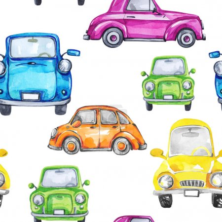 Hand painted retro cars pattern.