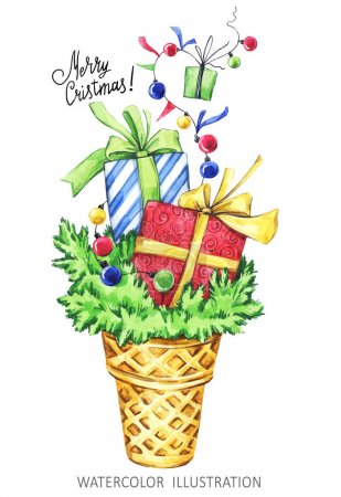 Watercolor cartoon ice cone with fir branches and gifts. Funny dessert. Christmas, New Year symbol.
