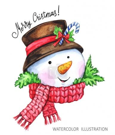 Watercolor cartoon Snowman in the hat and scarf. Christmas, New Year symbol.