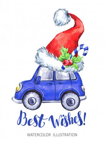 Watercolor cartoon car with Santa's Hat. Christmas, New Year card.
