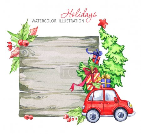 Winter watercolor greeting card, wooden frame with retro car, Christmas tree.