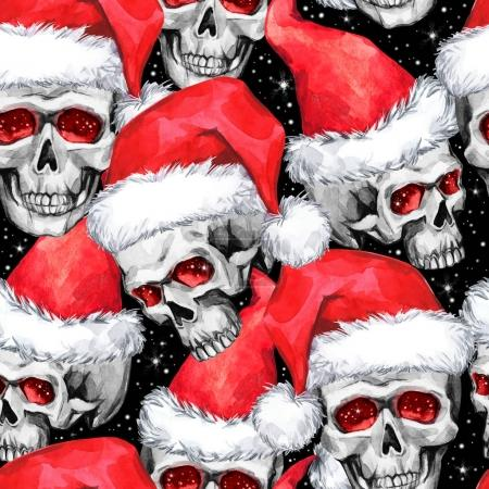 Watercolor seamless pattern with sketchy skulls in Santa hat. Cretive New Year. Celebration illustration. Can be use in winter holidays design, posters, invitations.