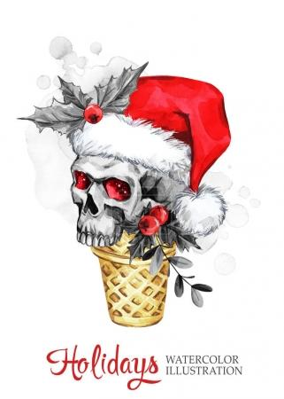Watercolor illustration. Hand painted waffle cone with skull in Santa hat. Funny ice cream dessert. Christmas, New Year symbol.