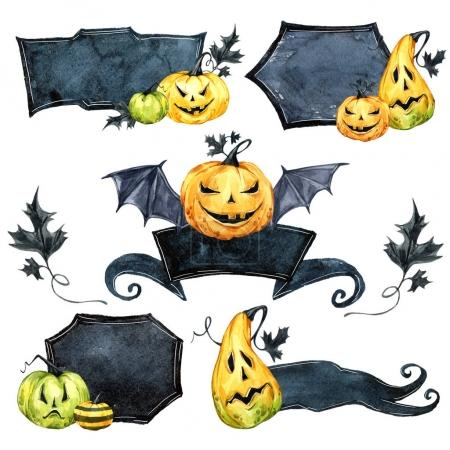 Photo pour Ensemble de bordure aquarelle, citrouilles avec feuilles. Illustration vacances Halloween. Drôle de nourriture. Magie, symbole d'horreur. Fond bébé. Peut être utilisé dans la conception de vacances, affiches, invitations, cartes - image libre de droit