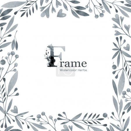 Photo for Hand painted square frame with watercolor flowers and herbs. Original hand drawn illustration. Natural template design. Botanical texture. Invitation card. Place for your text. - Royalty Free Image