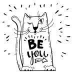 Vector illustration. Positive card with cartoon ca...
